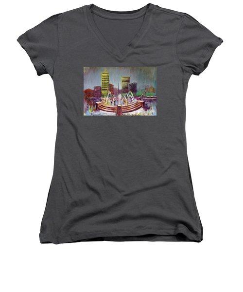 Fun In The Fountain In Asheville Women's V-Neck T-Shirt