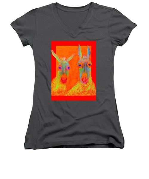 Funky Donkeys Art Prints Women's V-Neck T-Shirt