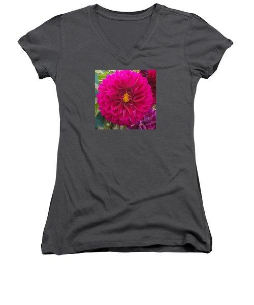 Fushia Women's V-Neck T-Shirt (Junior Cut) by Catherine Gagne