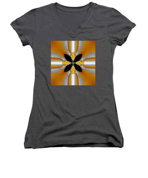 Women's V-Neck T-Shirt (Junior Cut) featuring the digital art Futuristic by Svetlana Nikolova
