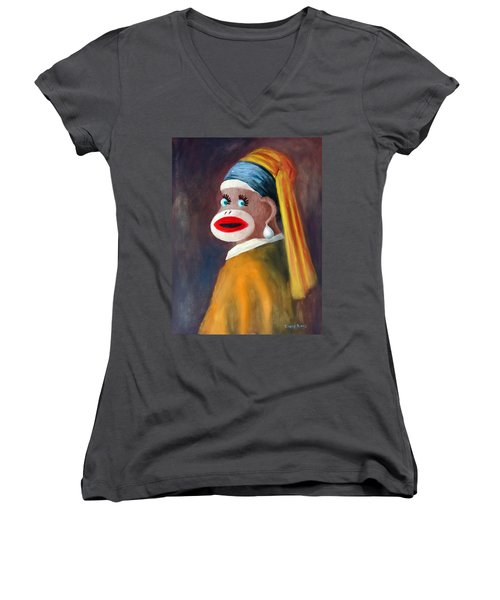 Gal With A Pearl Earbob Women's V-Neck T-Shirt (Junior Cut) by Randy Burns