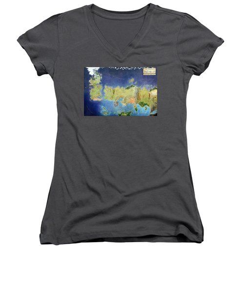 Game Of Thrones World Map Women's V-Neck (Athletic Fit)