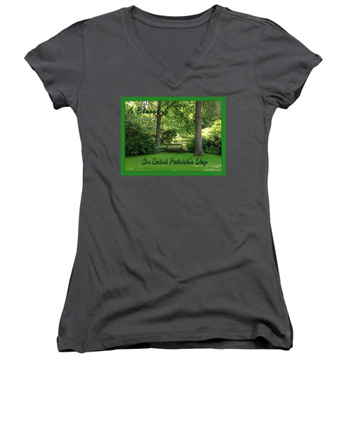 Garden Bench On Saint Patrick's Day Women's V-Neck (Athletic Fit)