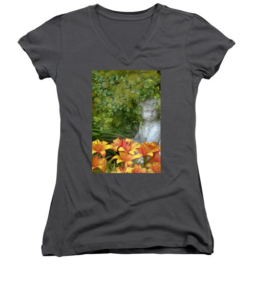Women's V-Neck T-Shirt (Junior Cut) featuring the photograph Garden Girl And Orange Lilies Digital Watercolor by Sandra Foster