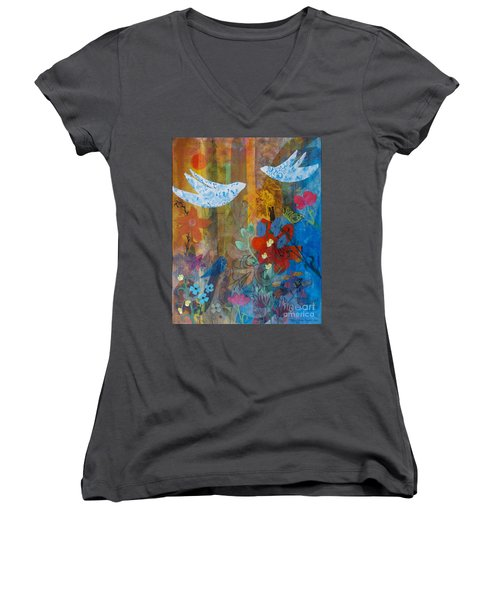 Garden Of Love Women's V-Neck T-Shirt