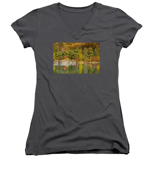 Women's V-Neck T-Shirt (Junior Cut) featuring the photograph Garden Of Reflection by Sebastian Musial