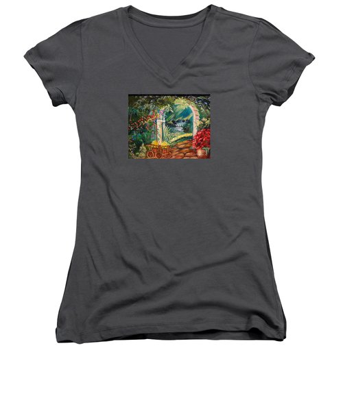 Women's V-Neck T-Shirt (Junior Cut) featuring the painting Garden Of Serenity Beyond by Jenny Lee