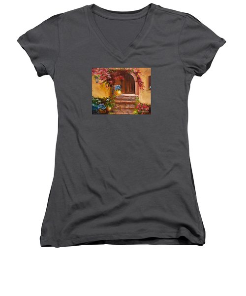 Garden Of Serenity Women's V-Neck T-Shirt (Junior Cut)