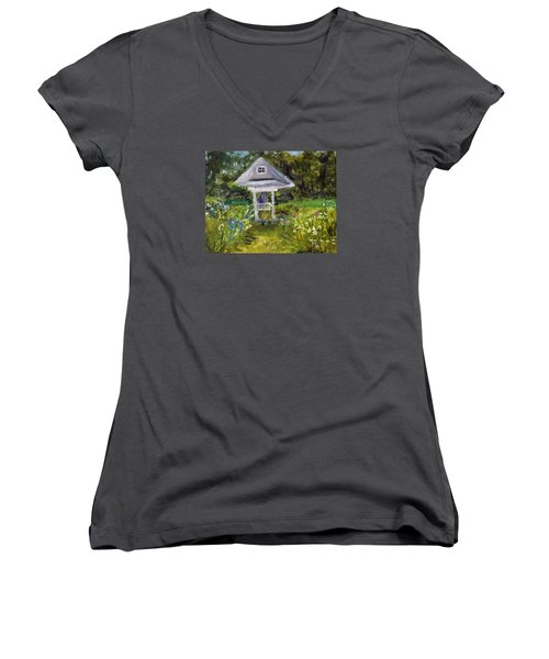 Women's V-Neck T-Shirt (Junior Cut) featuring the painting Garden Path by Michael Helfen