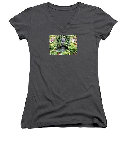 Garden Waterfall Women's V-Neck T-Shirt (Junior Cut)