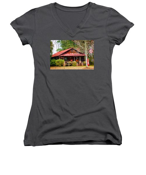 Women's V-Neck T-Shirt (Junior Cut) featuring the photograph Gas Station 1 by Dawn Eshelman