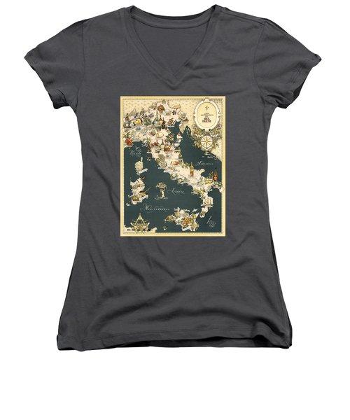 Gastronomic Map Of Italy 1949 Women's V-Neck