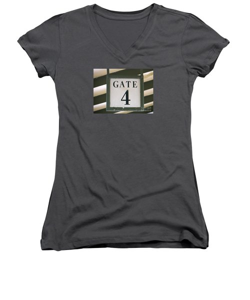 Women's V-Neck T-Shirt (Junior Cut) featuring the photograph Gate #4 by Joy Hardee