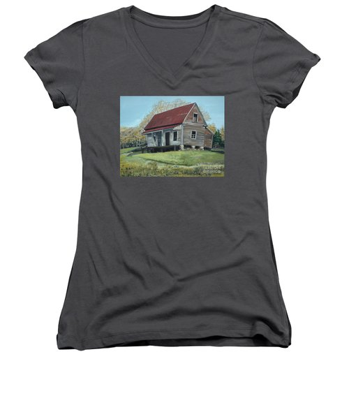 Women's V-Neck T-Shirt (Junior Cut) featuring the painting Gates Chapel - Ellijay Ga - Old Homestead by Jan Dappen