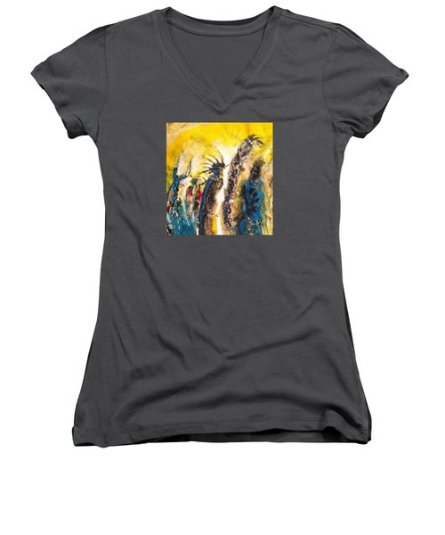 Gathering 2 Women's V-Neck T-Shirt (Junior Cut) by Kicking Bear  Productions