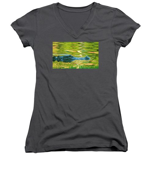 Gator In Pond Women's V-Neck