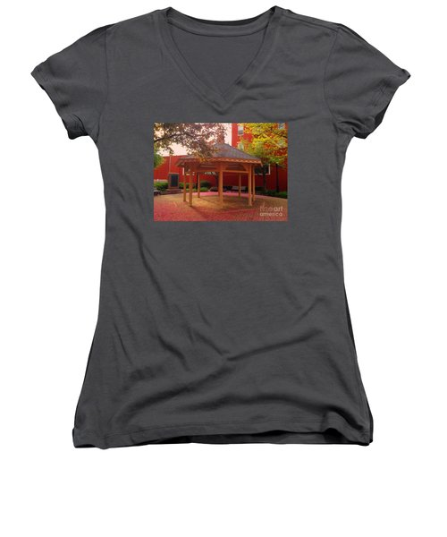 Women's V-Neck T-Shirt (Junior Cut) featuring the photograph Gazebo In Pink by Becky Lupe
