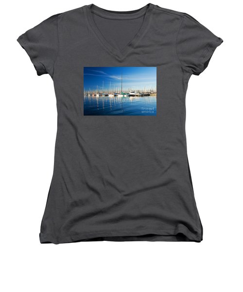 Women's V-Neck T-Shirt (Junior Cut) featuring the photograph Gem Pier Of Williamstown by Yew Kwang