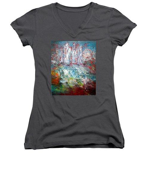 Gentle Breeze  Women's V-Neck T-Shirt (Junior Cut) by George Riney