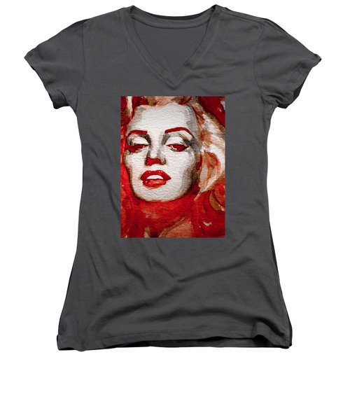 Women's V-Neck T-Shirt (Junior Cut) featuring the painting Gentlemens Prefer Blondes by Laur Iduc