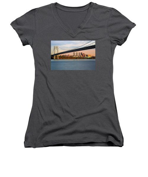 George Washington Bridge In Autumn Women's V-Neck