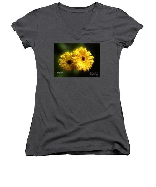Gerber Babies Women's V-Neck T-Shirt (Junior Cut) by Becky Lupe