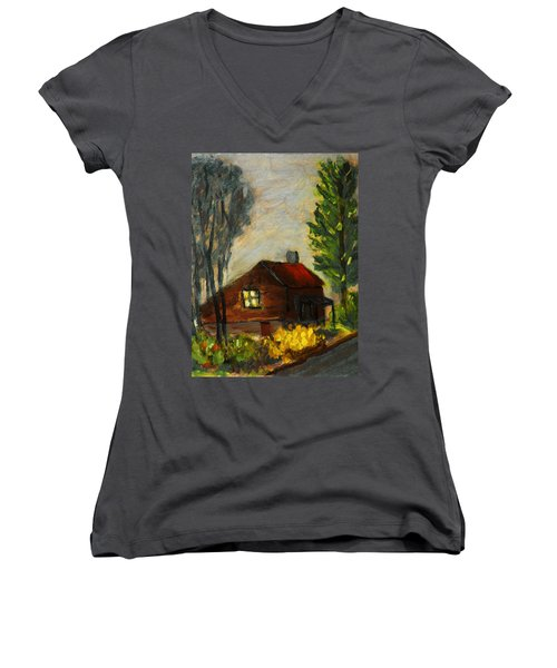 Getting Home At Twilight Women's V-Neck T-Shirt (Junior Cut) by Michael Daniels