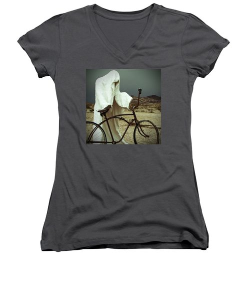 Ghost Rider Women's V-Neck T-Shirt (Junior Cut) by Marcia Socolik