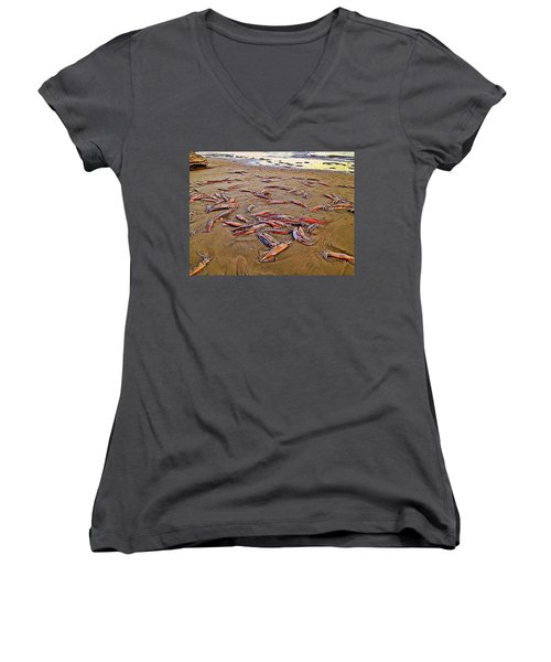 Women's V-Neck T-Shirt (Junior Cut) featuring the photograph Giant Squid Capitola Beach by Antonia Citrino