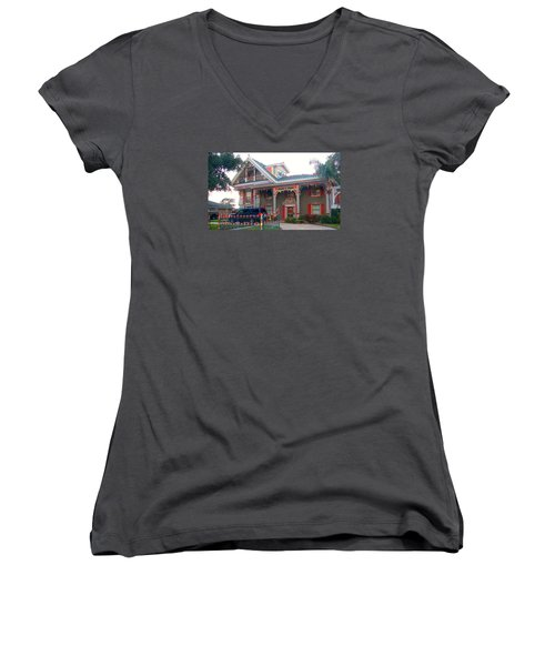Gingerbread House - Metairie La Women's V-Neck T-Shirt (Junior Cut) by Deborah Lacoste