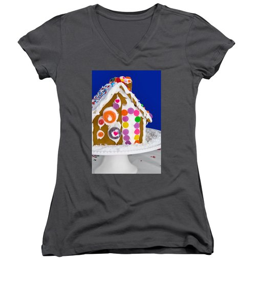 Women's V-Neck T-Shirt (Junior Cut) featuring the photograph Gingerbread House by Vizual Studio