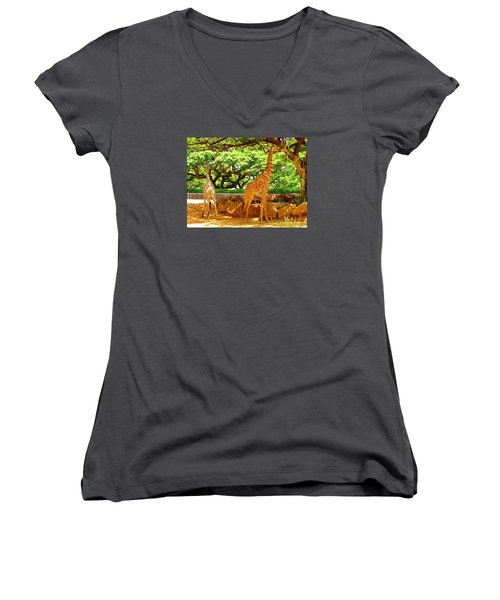 Giraffes Women's V-Neck T-Shirt (Junior Cut) by Oleg Zavarzin