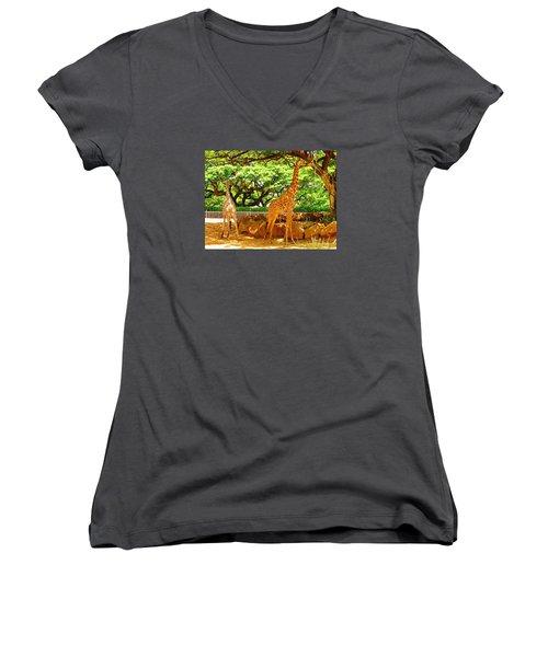 Giraffes Women's V-Neck T-Shirt