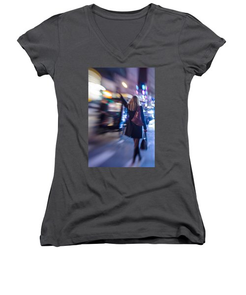 Girl Catching A Taxi In Manhattan Women's V-Neck (Athletic Fit)