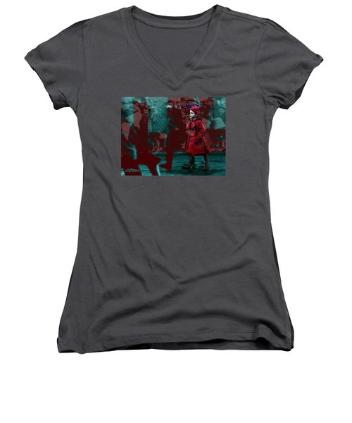 Girl In The Blood-stained Coat Women's V-Neck T-Shirt (Junior Cut) by Seth Weaver