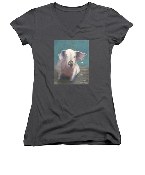 Girl With A Pearl Earring II Women's V-Neck (Athletic Fit)
