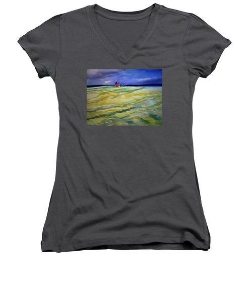 Girl With Dog On The Beach Women's V-Neck