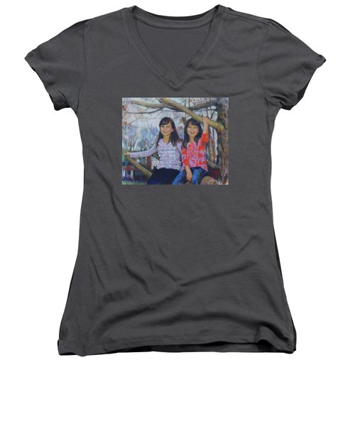 Women's V-Neck T-Shirt (Junior Cut) featuring the drawing Girls Upon The Tree by Viola El