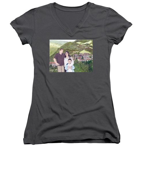 Women's V-Neck T-Shirt (Junior Cut) featuring the painting Giusy Mirko And Simone In Valle Castellana by Albert Puskaric