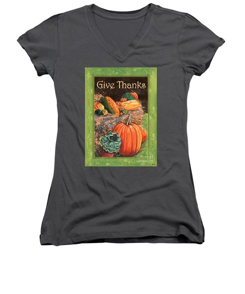 Give Thanks Women's V-Neck T-Shirt (Junior Cut) by Debbie DeWitt