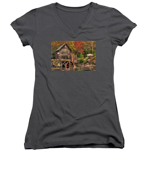 Glade Creek Grist Mill-1a Babcock State Park Wv Autumn Late Afternoon Women's V-Neck (Athletic Fit)