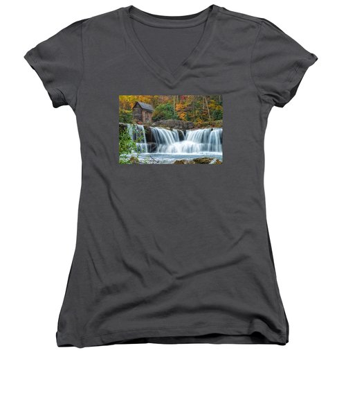 Glade Creek Grist Mill And Waterfalls Women's V-Neck (Athletic Fit)