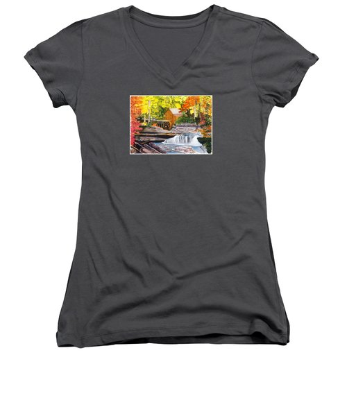 Glade Creek Grist Mill Women's V-Neck (Athletic Fit)