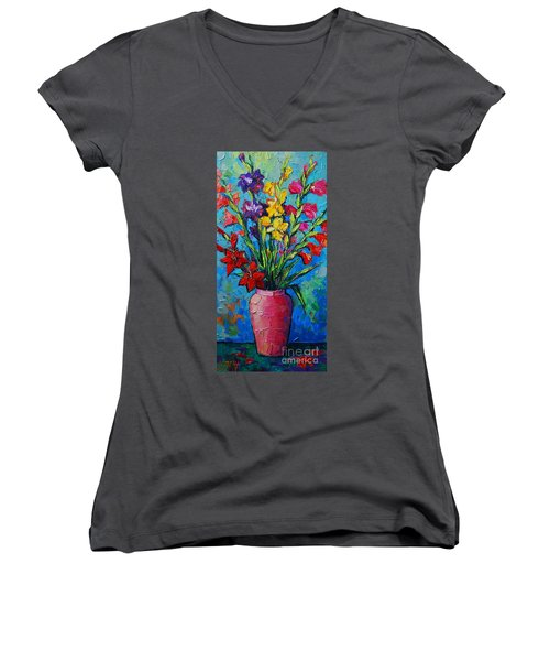 Gladioli In A Vase Women's V-Neck (Athletic Fit)