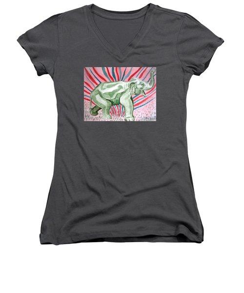 Gleeful Elephant Women's V-Neck (Athletic Fit)