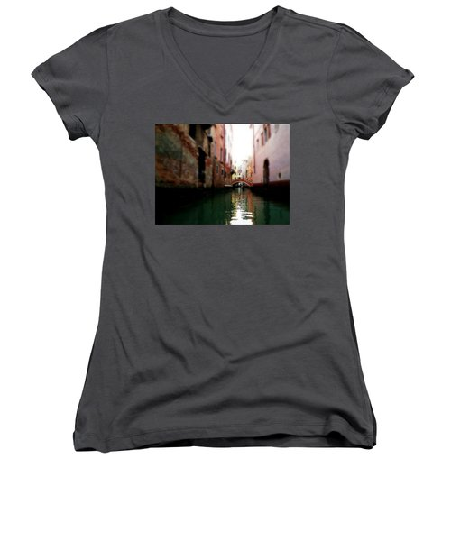 Women's V-Neck T-Shirt (Junior Cut) featuring the photograph Gliding Along The Canal  by Micki Findlay