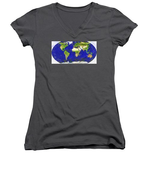 Global Map Painting Women's V-Neck T-Shirt (Junior Cut) by Georgi Dimitrov