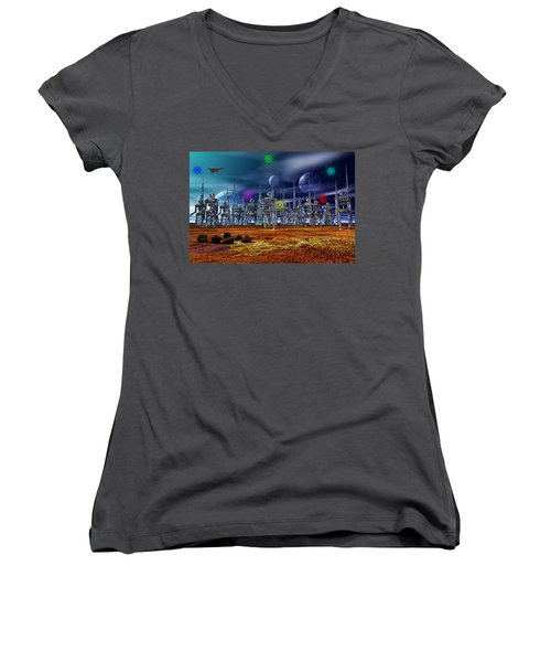Women's V-Neck T-Shirt (Junior Cut) featuring the photograph Gloeroxz by Mark Blauhoefer