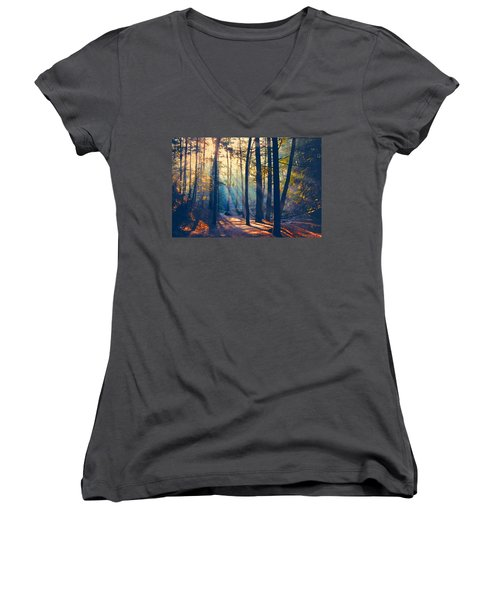 Glorious Forest Morning Women's V-Neck T-Shirt
