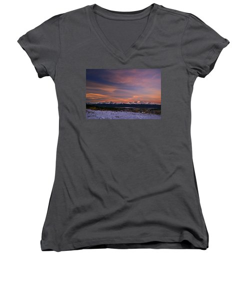 Glow Of Morning Women's V-Neck T-Shirt (Junior Cut) by Jeremy Rhoades